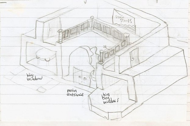 sketch of museum's two-storey main entrance hall
